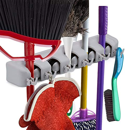 Mop Broom Holder, Multipurpose Wall Mounted Cleaning Supplies Organizer with 5 Positions 6 Hook, Ideal Broom Wall Rack Hanger for Garden Garage Storage Systems, Mounting Screws and eBook Included