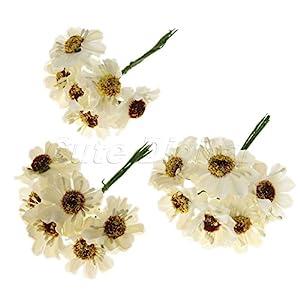 Chic Wedding Bridal Bouquet Party Decor Artificial Camellia Flowers DIY Craft Creamy White 72pcs 56