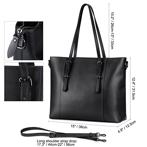 S-ZONE Leather Laptop Bag for Women Fits up to 15.6 inch Business Tote Shoulder Bag Purse (Black) by S-ZONE (Image #6)