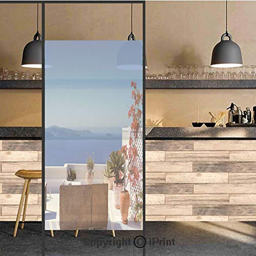 Santorini Aluminum Glass - 3D Decorative Privacy Window Films,View of Mediterranean Santorini Aegean Sea Seascape Holiday,No-Glue Self Static Cling Glass Film for Home Bedroom Bathroom Kitchen Office 24x48 Inch