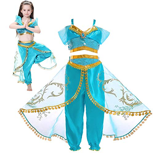 (Tacobear Princess Jasmine Costume for Girls Arabian Sequined Jasmine Dress up with Wig Tiara Wand Cosplay for Kids (130(5-6T), 03 Jasmine)