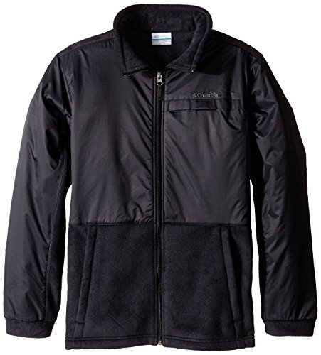 Columbia Big Boys' Steens MT Overlay Fleece Jacket, Black, Medium (10/12) ()