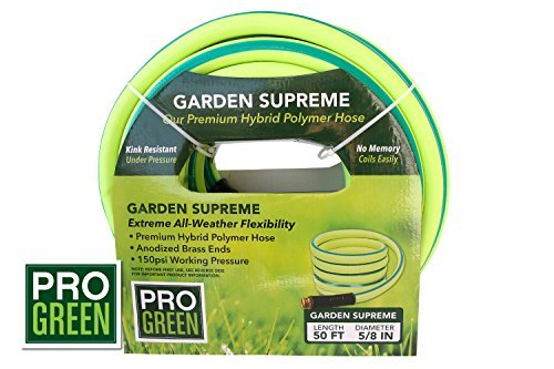 All NEW 2018 Rubber Garden Hose by Pro Green | 5/8 in. x 50 ft, Heavy Duty, Strong Rubber, Flexible & Lightweight | Water Hose Commercial Worthy | Full Customer Warranty by GreenPro