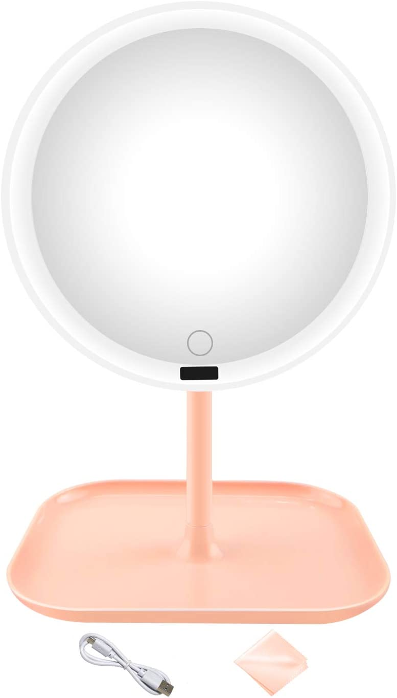 Makeup Mirror with Lights,8 Inches,Sensor,Touch Dimming, Rechargeable,40 Natural White LED Lights,High Definition Mirror