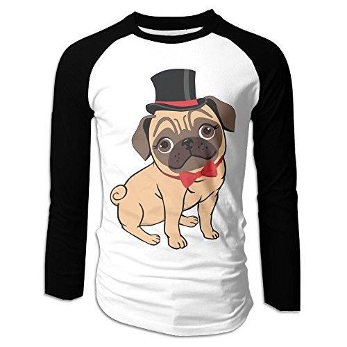 Men's Handsome Pug Tri-Blend Long Sleeve T-Shirt Raglan Size XXL Color (Star Wars Pug Costumes)