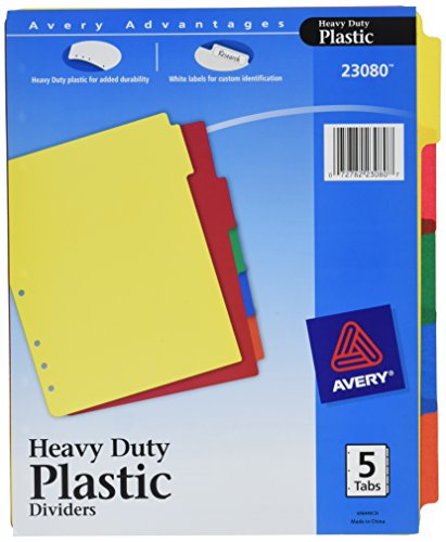 Avery  Heavy Duty Plastic Dividers, 5-Tab Set, 1 Set (23080)