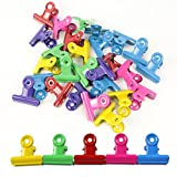 Metal Bulldog/Hinge clip 30MM (1.2 Inch) Mixed Color Utility Paper Clips for Home, Office,24pcs