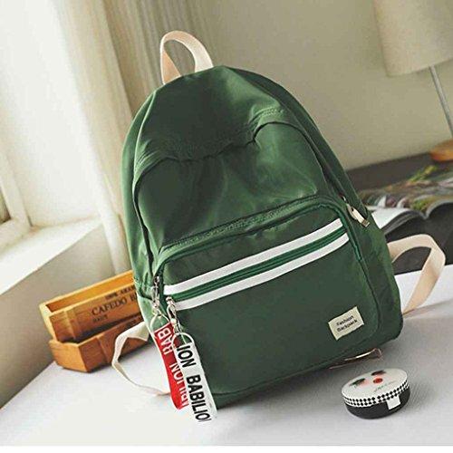 recorrido bolsillos la Mujeres nylon Estilo bolso cremallera de múltiples doble bolso Republe del coreano Verde del Niñas mochila del de puro de morral hombro Hombres del color ZPSaxPw