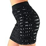 Womens Sexy Bandage Glitter Bodycon Panel Party Mini Sequin Skirt