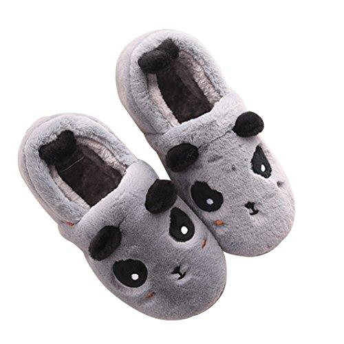 Miyang Hiver Femmes Famille Mignonne Panda Maison Chaude Intérieur Pantoufles Chaussons Gris