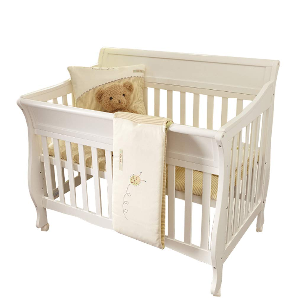 Crib Baby Cot Splicing Bed Solid Wood European Style Multifunction Cradle Bed (Color : White, Size : 12684106cm)