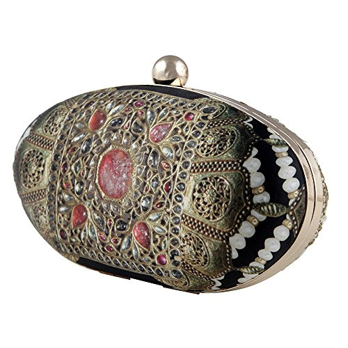Jadau Print Black Clutch Purses for Women by Indian Designer Puneet Gupta by Puneet Gupta Fine Crafted Goods (Image #2)