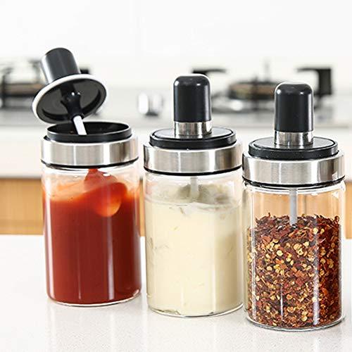 TENTA Kitchen 3 High Borosilicate Glass Spice Jars Seasonning Box Jar Condiment Jar, Combination Spoon and Lid Design, Premium Commercial Grade, Empty Jars 8.45 oz, Airtight Cap. ()