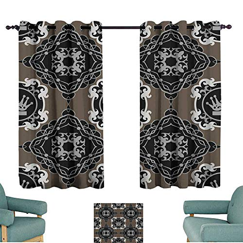 Warm Family Drapes for Living Room Damask Decorative Wallpaper for Walls Darkening and Thermal Insulating