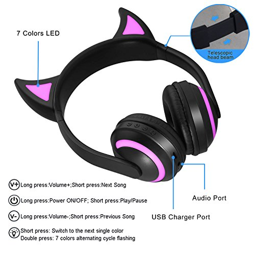 Kids Wireless Bluetooth Headphone 7 Colors LED Light Flashing Glowing Devil Ear Cosplay On-Ear Stereo Headset with Mic Compatible with Smartphones PC Tablet by Luckyu (Image #2)