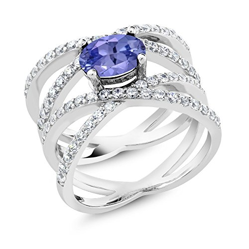 925 Sterling Silver Blue Tanzanite Women's Criss Cross Ring (2.09 Cttw, 8X6MM Oval Center, Available in size 5, 6, 7, 8, 9 by Gem Stone King (Image #1)