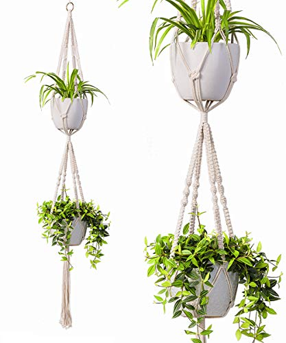 (2 Tier Macrame Plant Hanger by TimeYard - Handmade Double Indoor Hanging Planter Pot Holder - Modern Boho Home Decor - 1 PCS Ceiling)
