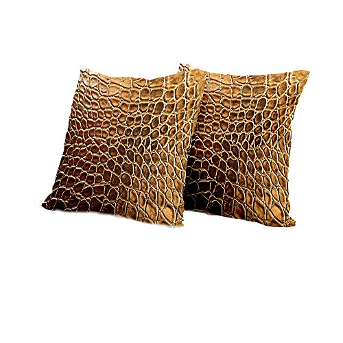 (All of better futon Cushion Cover Animal Print,Tint Golden Vivid Crocodile Skin Nature Life Toughness High End Design Artwork,Gold Brown Outdoor Pillow Covers 24x24 INCH 2pcs)