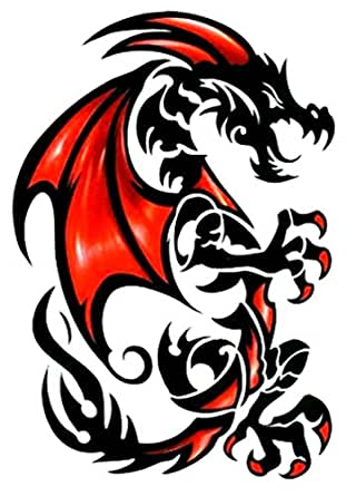 Tribal red black draco dragon temporary body for Fake tattoos amazon