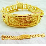 Dragon Thai Gold Plated Bangle 24k Thai Baht Yellow Gold Filled Bracelet 7.5 Inch 70 Grams 20 mm
