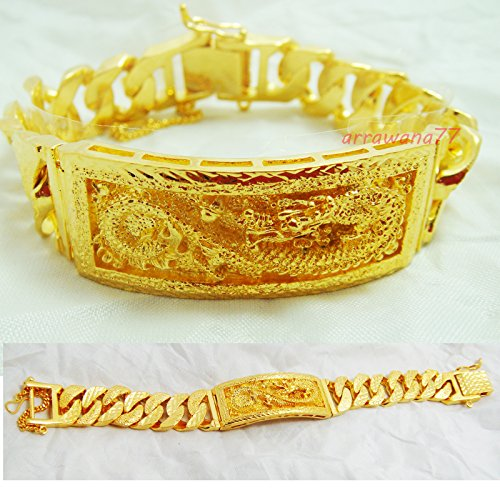 22k Yellow Gold Bangles (Dragon Thai Gold Plated Bangle 24k Thai Baht Yellow Gold Filled Bracelet 7.5 Inch 70 Grams 20 mm)