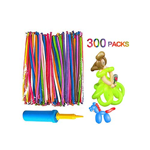 Maylai Balloon Animals Kit 260Q Twisting Balloons with Pump 300 Pack of Latex Long Balloons for Party Birthday Decoration -