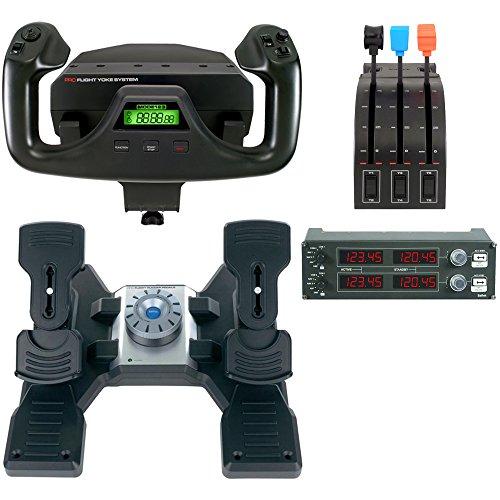 Logitech G Saitek PRO Flight Bundle (Yoke System, Rudder Pedals, Radio Panel) (Certified Refurbished) Refurbished Control Panel