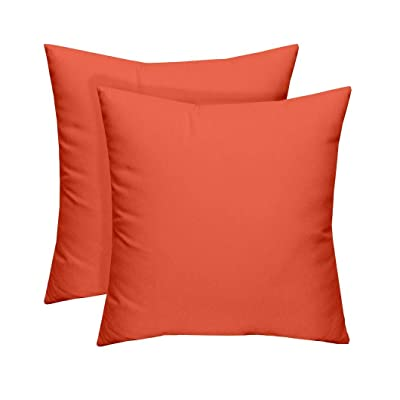 RSH Décor Set of 2 - Indoor/Outdoor Solid Coral Decorative Square Throw/Toss Pillow - Choose Size and Choose Color : Garden & Outdoor