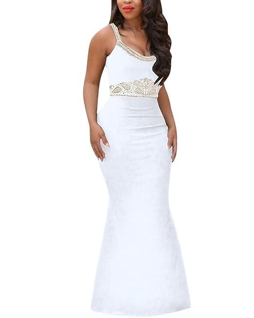 Mujer Vestidos Largos Atractivo Del Halter Cintura Alta Coctail Vintage Ropa Para Fiesta Dress Blanco S