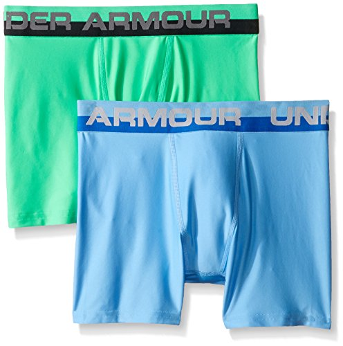 Under Armour Boys' Original Series Boxerjock 2-Pack, Carolina Blue/Vapor Green, Youth X-Small (Vapor Youth)