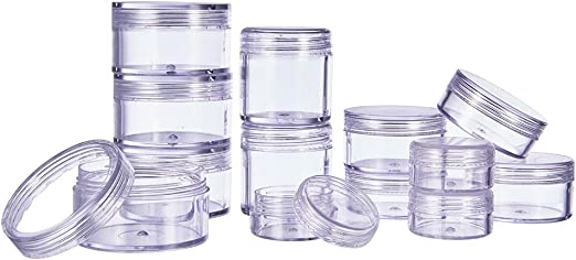 Amazon Com Pandahall Elite About 20 Pcs 10ml 20ml 30ml 40ml 50ml Round Clear Empty Plastic Cosmetic Samples Container Pot Jars Bead Storage Box With Screw Lids For Beads Jewelry Nails Art Travel