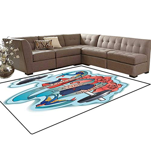 Fitness Door Mats Area Rug Strong is a New Skinny Artistic Composition Birds Flowers Barbell Anti-Skid Area Rugs 6'x9' Light Blue Dark Coral - Coral Zoo Blue Light