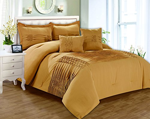 RT Designers Collection Astoria 5 Piece Pleated Comforter Set, Queen, Taupe - Astoria Collection