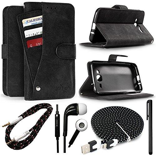 ZTE Avid 4 Z855/Tempo X N9137/Fanfare 3/Blade Vantage Z839 Case, Suede Slide-Out Pocket Wallet Case w/Transparent ID Window, Holds up to 9 Cards + 4 Piece Accessory Kit! (Black) ()