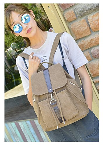 Tibes Cute Canvas pequeño mochila para niñas / mujeres marrón