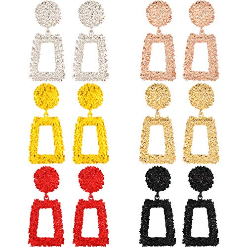 Chuangdi 6 Pairs Statement Drop Earrings Metal Geometric Earrings Square Dangle Earrings Raised Design Earrings, 6 - Design Square Earrings