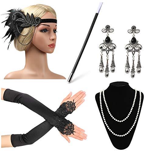 Beelittle 1920s Accessories Headband Earrings Necklace Gloves Cigarette Holder (C3) -