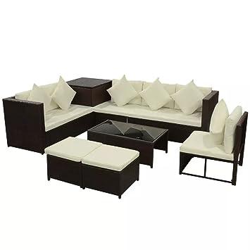 festnight 8 piezas al aire libre Patio mimbre jardín sofá conjunto ...
