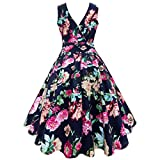 Women Plus Size Floral Print Vintage Gown Sleeveless Party Prom Swing Dress by SanCanSn (Navy ,2XL)