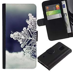 Billetera de Cuero Caso Titular de la tarjeta Carcasa Funda para Samsung Galaxy S5 V SM-G900 / Cold Winter Snow Blue / STRONG