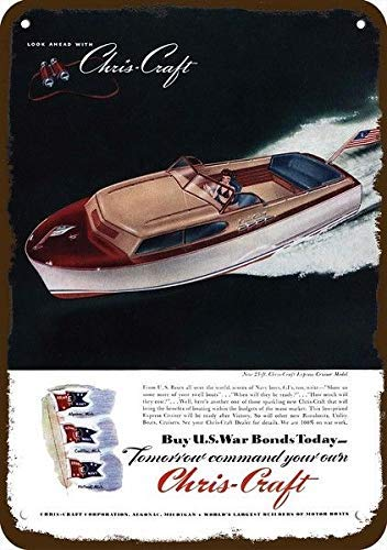 (onepicebest 1945 Chris Craft 23' Express Cruiser Wood Boat Vintage Look Replica Metal Sign 7