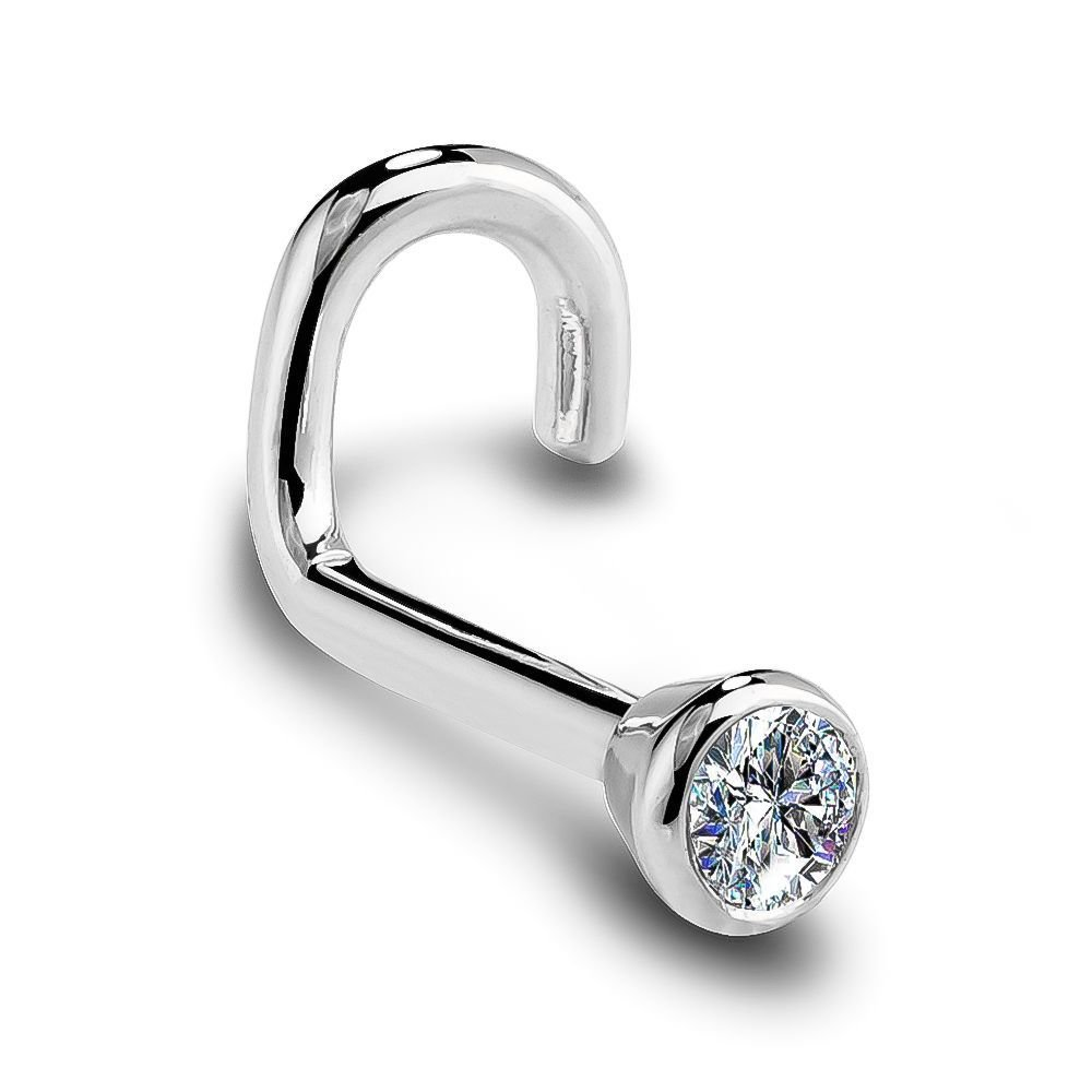 I1 3mm 0.11ct. t.w. Diamond Flush Bezel Set Diamond 14K White Gold Twist Nose Ring 20G