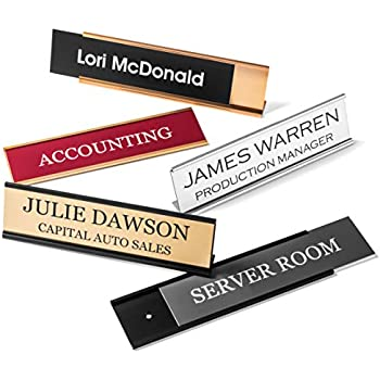 Personalized Desk Name Plates - Custom Office Wall Name Plates - with Holder - 2X8