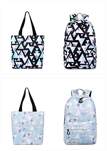 14 set Capacity Girls Inches Large Landscape black Fashion College Backpack Geometric Winnerbag Printing Blue Women Pattern Waterproof Bookbags qZxwwR6