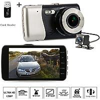 Dash Cam 1296P HD 4.0 inch Video Front and Rear Dual Lens Car Recorder G-Sensor 400 Million Motion Detection