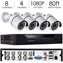 LONNKY 8CH FULL 1080P 5-in-1 DVR Security System with 4 HD TVI Outdoor 2.0MP 80ft Night Vision Bullet Camera, Support Intelligent Face Detection, Smartphone Remote Viewing, NO HDD included