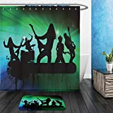 Vanfan Bathroom 2 Suits 1 Shower Curtains & 1 Floor Mats Rock band in abstract background, vector illustration_10842565 From Bath room