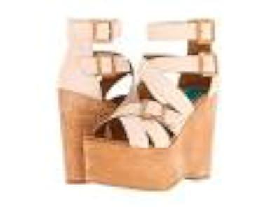 Fugu Malibu Womens Hanlow Open Toe Ankle Strap Wedge Pumps Beige Size 8.5