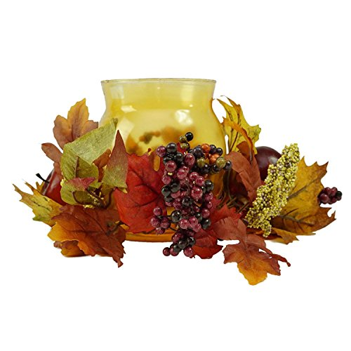 Northlight Autumn Harvest Apple and Berry Hurricane Glass Pillar Candle Holder, 17
