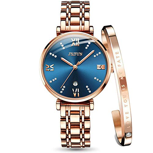Watches for Women on Sale Rose Gold Watch Sets with Bracelets Stainless Steel Band Blue face with Day Date Womens Watches with Bling Crystal Ladies Watches J-L6533ML-SH